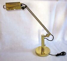 Adjustable Table Desk Craft Hobby Lamp Swivel Halogen Light Brass Look Metal Vtg