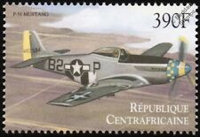 WWII North American P-51 Mustang Aircraft Stamp (2000 Central African Republic)