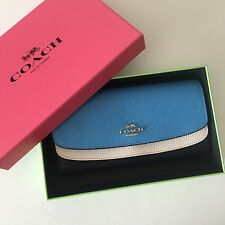 Coach 53858 Navy Multi Colorblock Leather Double Flap Slim Envelope Wallet NWT