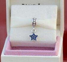 Authentic Pandora Silver Dangle Star Pave Blue CZ Bead 791024CZB **Retired**