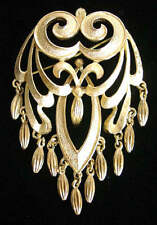"Vintage 60's MONET ""ROCOCO"" Gold tone BROOCH with FRINGE/Dangles~Book Piece,FJT"