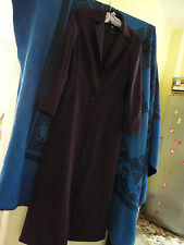 Aubergine Purple 100% Silk Full Length Dress & Jacket August Silk Size 12 BNWT