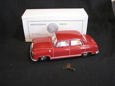Tucher & Walther Mercedes 190 D 1:24 (?) Red Tin Car with friction engine (JS)