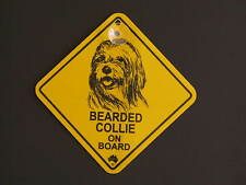 Bearded Collie On Board Dog Breed Yellow Car Swing Sign Gift