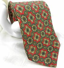 "Montagut Men's Tie Floral Medallion 3.5""x 57"" Red Yellow Green Gold"