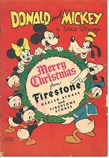 DONALD & MICKEY MERRY CHRISTMAS FIRESTONE DISNEY GIVEAWAY PROMO RARE 1946 VG