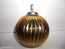 "Vintage GOLD KUGEL Christmas Tree Ornament 4"" Ribbed BALL"