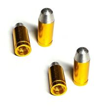 4 Gold Billet Bullet Tire Air Valve Stem Caps - Car Truck Hotrod ATV Wheels