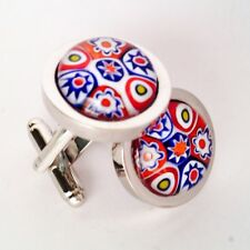 Red White & Blue Murano Millefiori Round Glass & Silver Inlay Chunky Cufflinks.