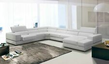 Modern White Italian Leather Sectional Sofa Couch Chaise Living Room Furniture