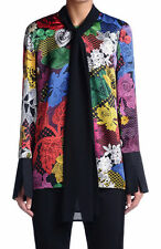 Just Cavalli Women's Multi-Color Silk Long Sleeve Blouse Top US S IT 40