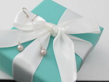 New Tiffany & Co Peretti Silver Pink Pearl Earrings Dangle Box Pouch Ribbon Card