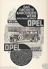 Opel Grösstes Karosserie Werk Deutschlands Reklame 1928 Sechszylinder 6 Zylinder