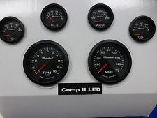 Marshall 6 Gauge Set Comp 2 LED Electric Speedo Black Dial Bezel Sport Comp