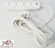 4 Gang Way 5m Long Lead Uk Plug Extension Cable Socket Cord BS RoHS