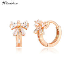 18K Rose Gold Plated Bowknot Collar CZ Zircon Mini Huggie Hoop Kids Earrings