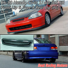 SiR Style Front + TR Style Rear Lip (PU) + Grill (ABS) Fits 96-98 Civic 2dr