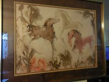 D L Powell Abstract Watercolor Painting on Paper of Three Running Horses