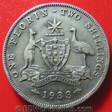 AUSTRALIA 1933 1 ONE FLORIN - TWO SHILLINGS SILVER MELBOURNE MINT KEY DATE COIN