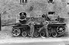 WWII B&W Photo German StuG & US Troops WW2 /4059
