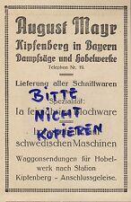 KIPFENBERG, Werbung 1922, August Meyr Dampf-Säge-Hobel-Werk Blochware Holz
