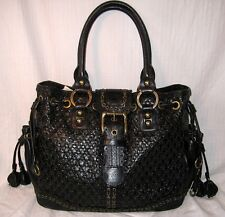 ISABELLA FIORE  Black Woven Leather Brass Studded TOTE HANDBAG