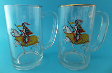 Vintage Beer Glasses Armoured Medieval Knights with Shields On Horses Gold Rim