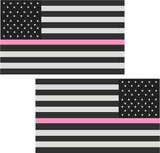 """2 - 3"""" American PINK Subdued Breast Cancer Flag Decal Tactical Sticker RL"""