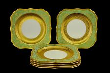 Antique  Royal Doulton Gold Crusted China Plates Green Floral H1227 Six