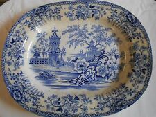 "Large  18"" Blue And White Platter Chinese Landscape Scenes Platter Circ !850"