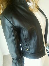 ARDEN B WOMENS BLACK LEATHER MOTORCYCLE JACKET IN SIZE SMALL