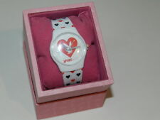 PLAYBOY bunny Watch white strap red & black heart all over Design 100% Authentic