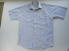 Mens BALMAN Blue/purple check short sleeve shirt Large chest 48 inches
