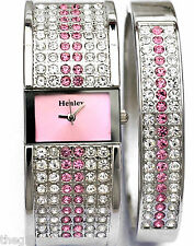 Henley Sparkling Genuine Czech Pink Crystal Watch & Bangle Ladies Gift Set NEW