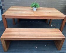 Outdoor Table & Bench Set 3 Piece Garden BBQ Eucalyptus Timber Wooden Furniture