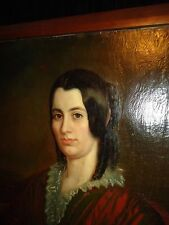 Antique Oil on Canvas Large Painting Portrait of Woman Red Dress Black Hair 34""