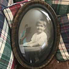 """Antique Oval Picture Frame w Convex Bowed Glass Photo of Boy 22"""" x 16.5"""""""
