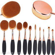 Rose Gold 10Pcs Oval Toothbrush Powder Blusher Foundation Eye Makeup Brushes Set
