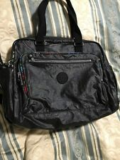 New Kipling Alanna Baby Bag Briefcase Lacquer Black Floral Trim Monkey