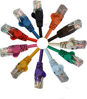 1m 1 metre Cat5e RJ45 Ethernet Network LAN Cable Cat 5e Patch Lead in 11 Colours