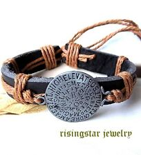 Magical Protection Shield Leather Surfer Biker Character Hip Bracelet Wristband