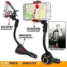 3in1 360° Smartphone Holder mount Dual USB Charger Port+Cigarette Lighter Power