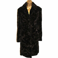 Karen Millen Vintage Look Dark Brown Faux Fur Pile Coat Jacket Party Evening 12