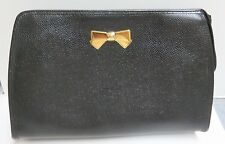 Nina Ricci Black Leather Zip Top Clutch Handbag With Small Gold Tone Bow