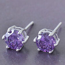 New 9K White Gold Filled 6 Prong Set Round 6mm Amethyst Purple CZ Stud Earrings