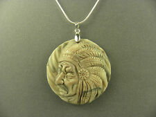 ARTISAN CARVED AMERICAN INDIAN RIBBON JASPER GEMSTONE PENDANT& 925 SILVER CHAIN