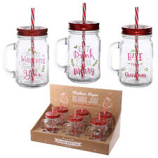 Fun Mason Glass Drinking Jar With Straw Christmas Slogans Candy Cane Straw