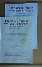 john cooper works mini cooper s tuning kit certificate of authenticity, jcworks