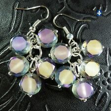 ♥ Beautiful Frosted Hyaline Purple Crystal Discs Cluster Plated Silver Earrings