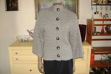 Womens Old Navy Gray Loose Chain Knit Wool Blend Cardigan Sweater Bell Sleeves S